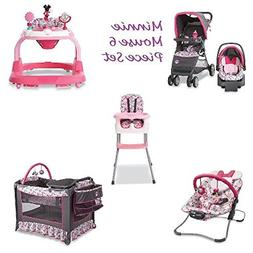 6 Piece MINNIE MOUSE NURSERY SET Stroller Car Seat Travel Sy