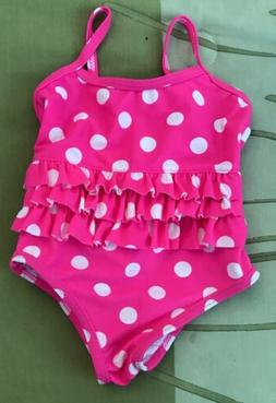 NWOT Carters One Piece Baby Girl Pink W/White Polka Dot Swim