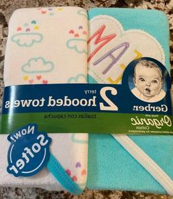 NWT 2 PACK OF BABY GIRL GERBER ORGANIC COTTON HOODED BATH TO