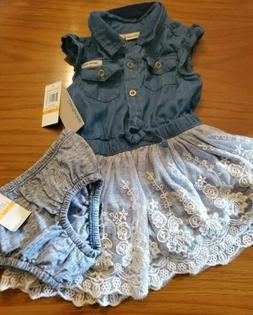 NWT- CALVIN KLEIN  BABY GIRL 2 PIECE SET-COUNTRY DENIM LACE