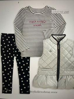 NWT Baby Girl 3 Pc Puffer Vest Set, Silver/Black Calvin Klei