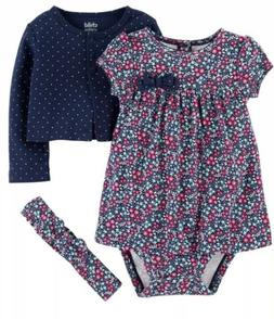 NWT BABY GIRL 3pc OUTFIT SIZE 6-9 MONTHS DRESS CARDIGAN HEAD