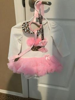 NWT Baby Girl 4 Piece Pink Birthday Outfit Bodysuit, Legging