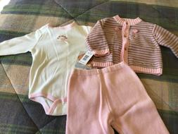 NWT Vitamins Baby Baby Girl Cardigan Sweater/Body Suit Rompe