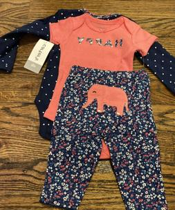 NWT BABY GIRL CARTER'S 3pc ELEPHANT OUTFIT SIZE NEWBORN