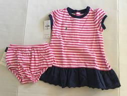 NWT Polo Ralph Lauren Baby Girl Pink Striped Eyelet Ruffle C