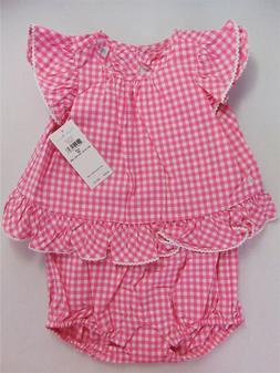 NWT Ralph Lauren Baby Girl Size 3 6 12 Months Pink Gingham B