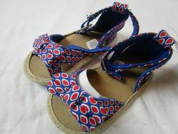 NWT Baby Girl size 9-12 month Red Blue sandals July 4th Summ