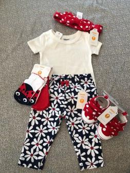 NWT Gymboree Baby Girl SPRING 6-piece SET Red Floral Ladybug