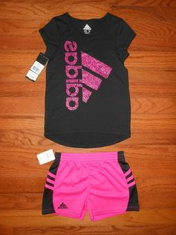 NWT ADIDAS Baby Girls 2pc black shirt and short outfit set,