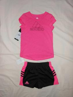 NWT ADIDAS Baby Girls 2pc pink shirt and short outfit set, s