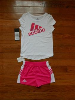 NWT ADIDAS Baby Girls 2pc white shirt and short outfit set,