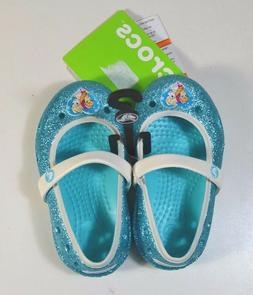 NWT BABY GIRLS CROCS KEELEY FROZEN FLATS SANDALS SLIP ON BALLET SHOES C4 C5