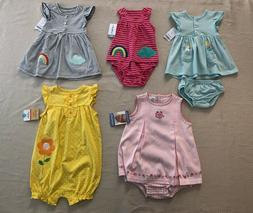 NWT CARTER'S BABY GIRL'S 2 pc DRESS & ROMPERS Size 3 Mo 6 Mo