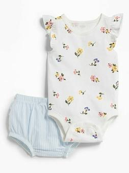 NWT Old Navy Floral Short Sleeve Bodysuit Striped Bloomers O