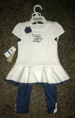 NWT CALVIN KLEIN infant / baby girl 2-piece outfit size: 24