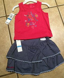 NWT Calvin Klein Infants Toddlers Girl Pink Tank & Ruffle Sk