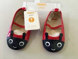 NWT Gymboree Red Ladybug Crib Shoes Dress Flats Baby Girl In
