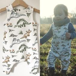 Summer Newborn Infant Baby Boy Girl Dinosaur Romper Sleevele