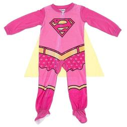 Supergirl One-Piece Pajamas With Cape for Baby Girls Footie