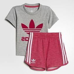 Adidas Originals Infant Girls Trefoil Shorts Set Tee & Short