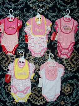 Puma Bodysuits Bib 3pc Set Baby Girls 0-3 3-6 6-9 Mos Pink R