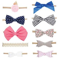 Parker Baby Girl Headbands and Bows, Assorted 10 Pack of Hai