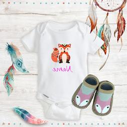 personalized name boho fox baby girl onesies
