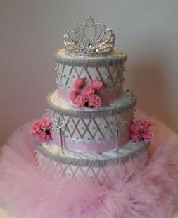 Pink and Silver Princess Themed Baby Girl Shower 3 Tier Tutu