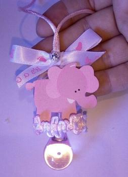 Pink elephant Baby Shower Pacifier keepsake necklace for gam