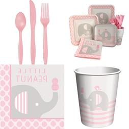 PINK Elephant Girl Baby Shower Supply Pack Bundle Includes P