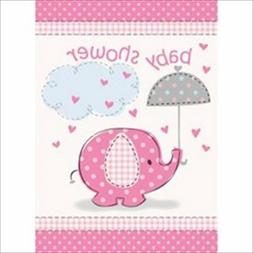 Pink Elephant Girl Baby Shower Invitations, 8ct