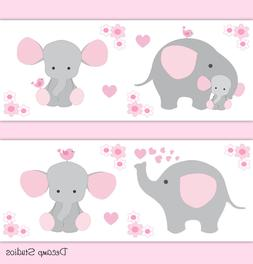 Pink Grey Elephant Nursery Baby Girl Wallpaper Border Wall A