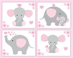 Pink Grey Gray Elephant Nursery Baby Girl Wall Art Prints Ju