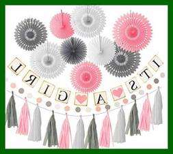 PINK WHITE GREY Baby Girl Shower Decorations Elephant For It