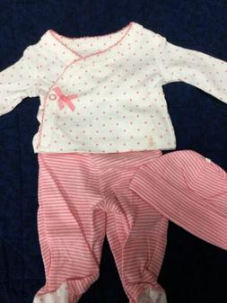 Preemie baby girl 3 pc Carter's footed pant,shirt, hat pink