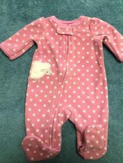 Preemie baby girl fleece footie Simple Joys by Carter's  orc