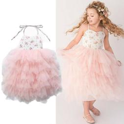 Princess Kids Baby Girl Floral Tulle Party Dress Lace Tutu S