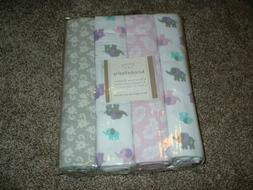 Koala Baby Purple Elephant Receiving Blankets 4pk Set Flanne