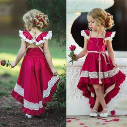 Ruffle Lace Sleeveless Party Kids Dresses Pageant Baby Girls