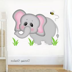 Safari Animal Decal Baby Girl Boy Nursery Elephant Wall Art