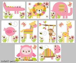 Safari Animals Decals Baby Girl Nursery Wall Art Jungle Wood