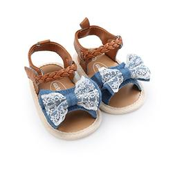 Isbasic Baby Girls Sandals Bohemia Bowknot Soft Sole First W