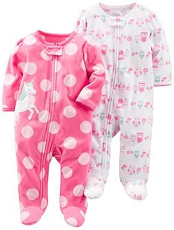 6650b0348ece8 Simple Joys by Carter's Baby Girls' 2-Pack Fleece Footed Sle