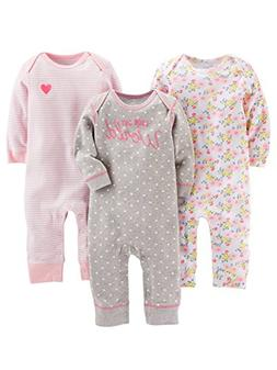 e8a92c9c0 Simple Joys by Carter's Baby Girls' 3-Pack Jumpsuits, Gray,