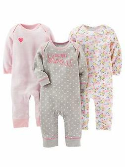 Simple Joys by Carter's Baby Girls' 3-Pack Jumpsuits, Gray,