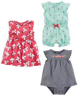 3ac9f7010 Simple Joys by Carter's Girls' 3-Pack Romper, Sunsuit and Dr