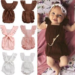 Sleeveless Newborn Baby Girl Summer Ruffle Cotton Romper Jum