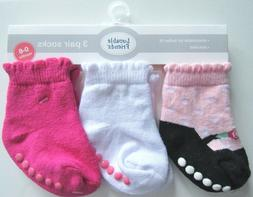 Luvable Friends 3 Pack Shoe Socks, Pink, 0-6 Months