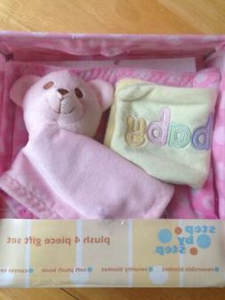 Step by Step Baby Girl Pink Plush 4 Piece Gift Set Blankets